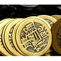 syndecho 50pcs cobre chino buena suerte monedas, monedas chinas Feng Shui I-Ching monedas Fortune monedas de la suerte