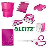 Büroset 8-Teilig pink, Ordner, Locher, Hefter, Eckspanner, Schere, Schnellhefter, Papierkorb, Briefkorb