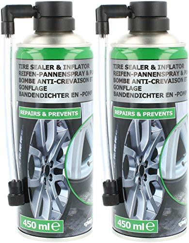 com-four® 2X Reifen Pannenspray - Autoreifen Pannenset auch für Motorradreifen - Reifenreparaturset - Reifendicht für Auto und Motorrad (02 Stück - Pannenspray)
