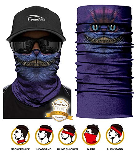 ECOMBOS Multifunktionstuch - Bedrucktes Schlauchtuch Bandana Face Shield Gesichtsmaske Halstuch Qualitäts Bandana, Ski Motorrad Paintball Maske (Lila Katze)