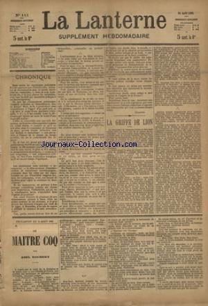 LANTERNE (LA) [No 111] du 15/08/1886 - LA GRIFFE DU LION PAR COPPEE - FILL PAR DE SOUILLAC - LE MONDE OU L'ON TRICHE PAR HOGIER-GRISON - LA PEINE DU TALION PAR BOUSSENARU - UNE PAGE DE LISTZ PAR DE LIEVRE - LA SANTE PUBLIQUE PAR MARC - FEUILLETON / LE MAITRE COQ PAR ROCHERY