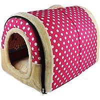 ANPI 2 en 1 Casa y Sofá para Mascotas, Rosa Lunares Lavable a Máquina Casa Nido Cueva Cama de Perro Gato Puppy Conejo Mascota Antideslizante Plegable Suave Calentar Con Cojín Extraíble, Grande