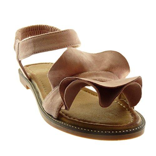 Angkorly Scarpe Moda Sandali con Cinturino Alla Caviglia Donna con Volant Tacco a Blocco 1.5 cm Rosa