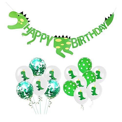 Queta Dinosaurier Happy Birthday Banner und Latexballon Partyzubehör Dekoration, Dinosaurier Thema Geburtstagsparty Dekorationen für Kinder (Dinosaurier ziehen Flagge)