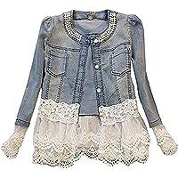 Moceal Giacca Donna Giacca in Jeans Corta Giubbotto Denim Manica Lunga Pizzo Elegante Casual Giubbino Elegante agazza…