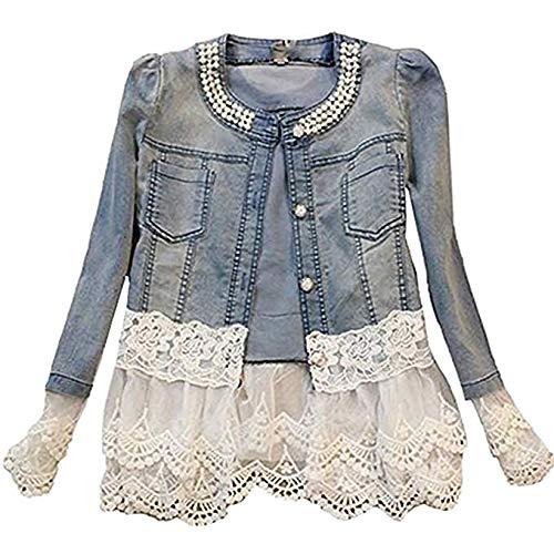 Moceal giacca donna giacca in jeans corta giubbotto denim manica lunga pizzo elegante casual giubbino elegante agazza decorazione cowboy corta blazer (xl, blu)