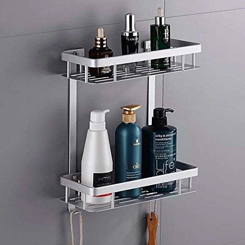 cfxdxayd Badezimmer Regale Raum Aluminium 2Tier Home Küche Badezimmer Dusche Lagerung Regal Korb Rack Wandmontage Bad Regal -