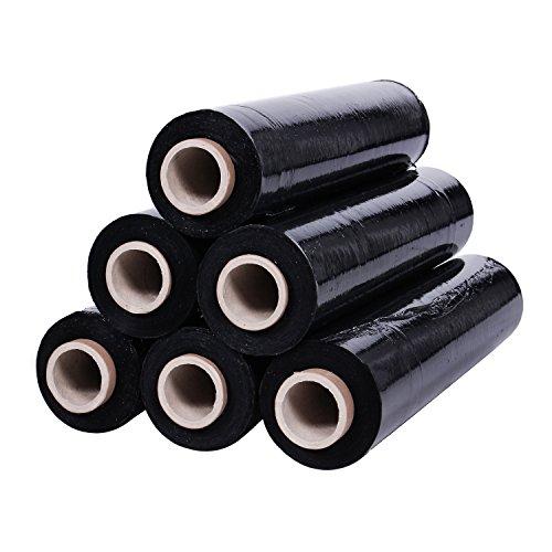 Preisvergleich Produktbild Stretchfolie Palettenfolie Verpackungsfolie Wickelfolie Folie Schwarz 23my hohe Qualität reißfest. In verschiedenen Mengen erhältlich., Größe:9 Rolls