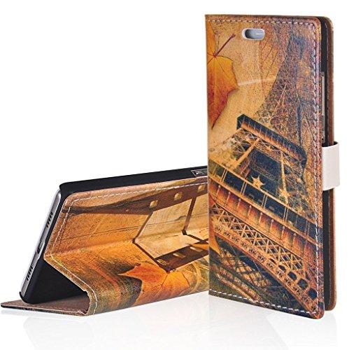 WindCase Klappetui Brieftasche PU Leder Schutzhülle für Acer Liquid Z6 Hülle Eiffelturm Muster PU Ledertasche Case mit Standfunktion Kartenfächer