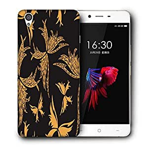 Snoogg Yellow Butterfly Black Pattern Printed Protective Phone Back Case Cover For OnePlus X / 1+X
