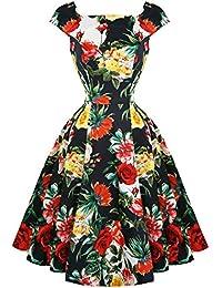 Hearts & Roses London Sommer Rosen Blumen Retro 1950s Ausgestellt Party Nachmittagskleid Hervorragende Qualität