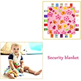 INCHANT Soft Taggy Blanket - Pink with Flower, Taggy Blanket - Plain Pink Textured Underside