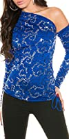 KouCla One Shoulder Shirt mit Pailletten - Elegantes Party Top in versch. Farben - Gr. XS-S 34-36 (ISF8940)
