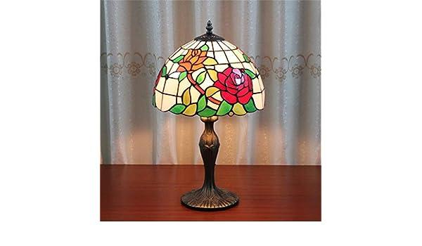 Gweat lampada tiffany 12 pollici rose lampada da tavolo lampada da