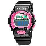 OHQ Studente Orologio Da Polso Orologio Sportivo Impermeabile Synoke Led Orologio Da Polso Orologio Da Polso Sportivo Synoke 9358 Led Digital Date Wristwatch Orologio Versatile (rosa)