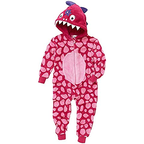 Filles Supersoft Fleece Dinosaur Onesie Jumpsuit Playsuit - Pink - 8/9 Années