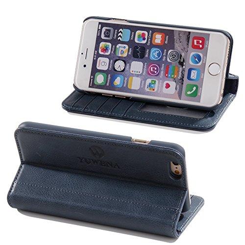 iPhone 6 pochette case Shell iphone 6S Housse de protection étui en cuir avec béquille, fentes pour cartes Rose Blue