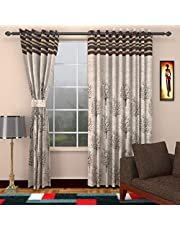 Homefab India Jute Modern 2 Piece Eyelet Polyester Door Curtain Set - 7ft
