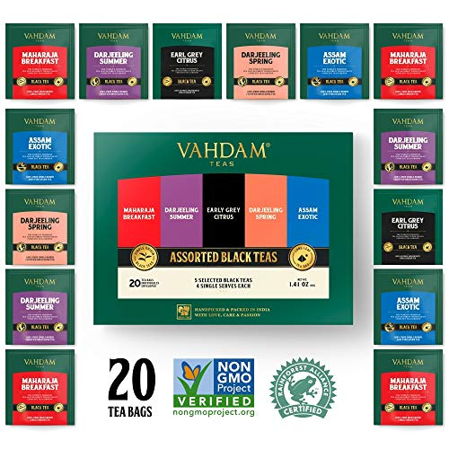 Vahdam, Black Tea Sampler, 5 Teas - Tea Variety Pack | Assorted Black Tea Bags | English Breakfast, Darjeeling, Assam, Earl Grey Tea Bags | 20 Count | Finest Tea Gift Set & Tea Gift for Tea Lovers