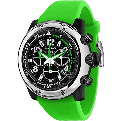 Glam Rock Men's Miami Beach 50mm Green Silicone Band Polycarbonate Case Quartz Black Dial Watch GR20144