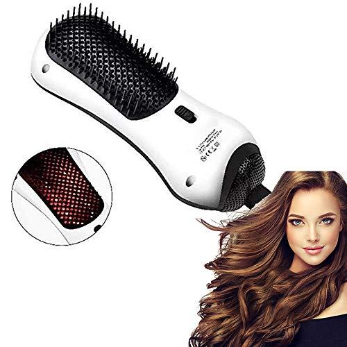 Sèche-Cheveux Infrarouges Lointains 2 En 1 Brosse Électrique Rotative Styler Lisseur Peigne Brosse À Air Chaud Mini Séchoir À Cheveux Multifunctiona- Blanc