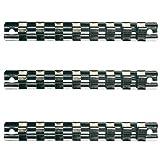 3 x Aufsteckschiene / Klemmleiste / Nusshalter / Aufsteckleiste / Ordnungssystem mit 24 verschiebbare Clips für 1/2' 3/8' 1/2' Vierkant Nüsse Einsätze, 240 mm