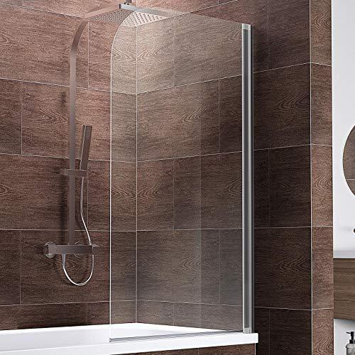Schulte D1650 Duschwand Komfort, 80 x 140 cm, 5 mm Sicherheitsglas klar hell, chromoptik, Duschabtrennung für Badewanne