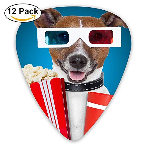 Funny Dog With Popcorn And Goggles Classic Guitar Pick (12 Pack) for Electric Guita Bass -
