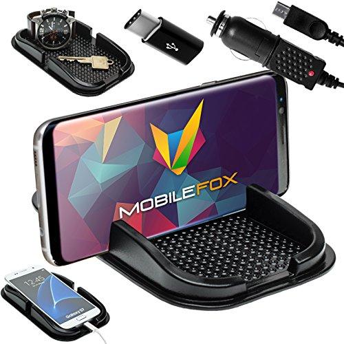 Mobilefox KFZ Anti-Rutsch Matte integr. Handy Halterung + Ladekabel + USB Type C Adapter SET für Samsung Galaxy S8/Plus - Rutschfestes Auto Halter Pad
