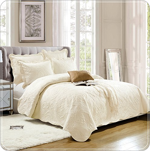 Luxus Tagesdecke Super Soft 3 Stück bestickt Gesteppte Tagesdecke werfen Sommer Bettwäsche Set (König (240 x 260 cm), Sahne)