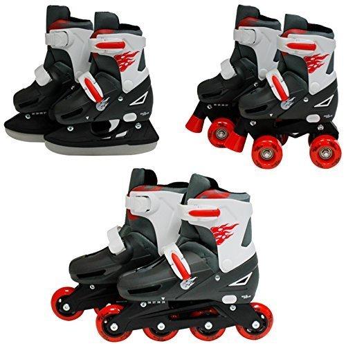 SK8 Zone Jungen Roten 3in1 Roller Klingen Inline Rollschuhe Verstellbare Größe Kinder Pro Kombo Multi Eislaufen Stiefel Neu - Small 9-12 (27-30 EU)