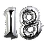 NUOLUX Ballons Helium Folie Ballons Geburtstag Zahl 18 für Party Dekoration 40 Zoll (Silber)