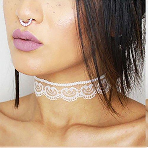 ILOVEDIY Gotik Spitze Halskette Cosplay Halsband Weiß Kette