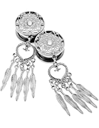 MagiDeal 8-16mm Dreamcatcher with Feather Pendant Dangle Ear Plug Tunnel Crystal Stainless Steel Gauge