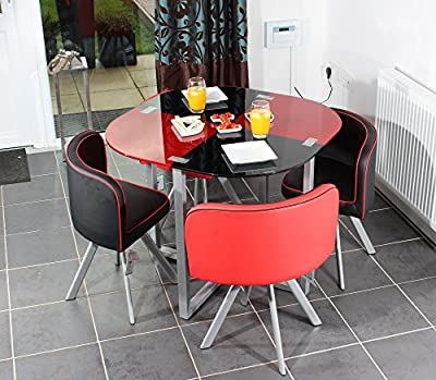 Charles Jacobs Dining Table with Four Chairs Set in Black & Red Round Tempered Glass, Space Saver,New 2016 Cushioned Contemporary Design for Extra Comfort, Modern Lounge Furniture - Premium Quality