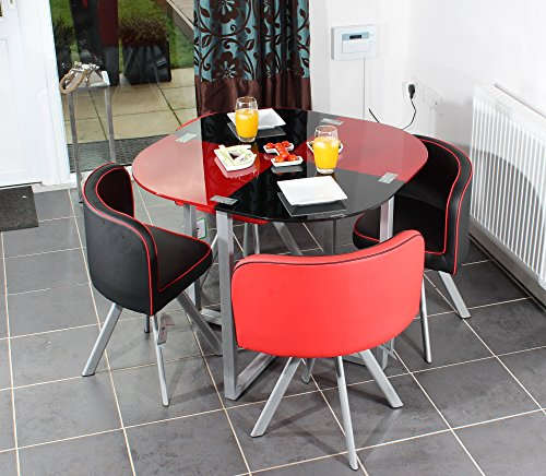 Charles Jacobs Space Saver Dining Table with Four Chair ... & Charles Jacobs Space Saver Dining Table with Four Chair Set in Black ...
