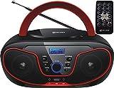 Tragbarer CD-Player | Boombox | CD/CD-R | USB | FM Radio | AUX-In | Kopfhöreranschluss | CD Player | Kinder Radio | CD-Radio | Stereoanlage | Kompaktanlage... (Cherry Red)