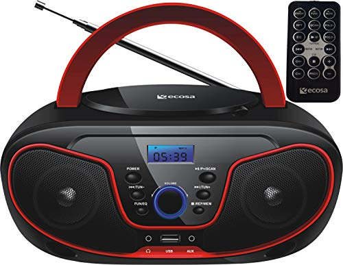 Tragbarer CD-Player | Boombox | CD/CD-R | USB | FM Radio | AUX-In | Kopfhöreranschluss | CD Player | Kinder Radio | CD-Radio | Stereoanlage | Kompaktanlage... (Cherry Red)
