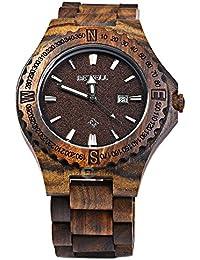 BEWELL ZS - W023A Reloj de Madera para Hombre de Cuarzo Analógico Muestra de Fecha