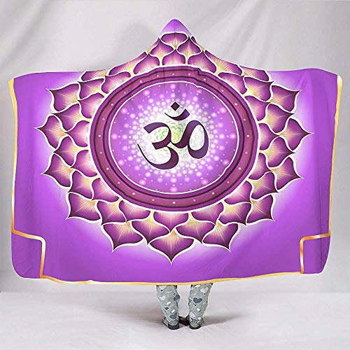 Nat Abra Lila Om Chakra Lotus Artwork Decken Weichen Warmen Plüsch Sherpa Cape Throw Wrap Robe Blanketsnuggling Couch Bettwäsche -