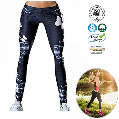 Dotbuy Damen Leggings, Sport Gym Yoga Workout Pants Basic Fitness Hohe Taille Jogginghose Trainingshose Skinny Hosen Hose Sporthose (S, Blütenblätter) - Workout Hose Asics