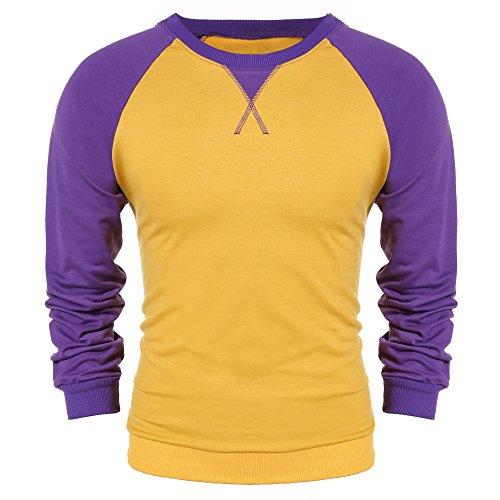 Burlady Herren Langarmshirt Sweatshirt Freizeit Sport Pullover Slim Fit T-shirt mit 2-Tone Raglan, Gelb, XXL
