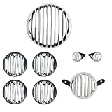 #3: AllExtreme Rear Customized Head light Heavy Grill Set Indicator, Parking, Tail Light Grill For Royal Enfield Classic350/500(Silver & Black)