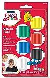 Staedtler FIMO Kids, Set de 6 pains de pâte FIMO ultra-souple assortis, Couleurs basiques, Pour les enfants, Boîte en carton avec 6 pains de 42 grammes chacun, 8032 01