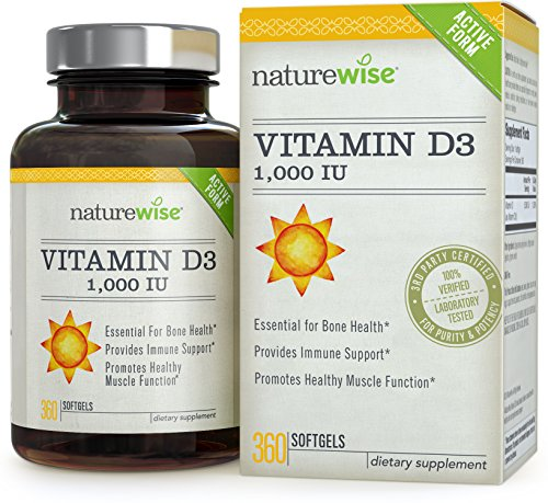NatureWise Vitamin D3 1,000 IU for Healthy Muscle Function, Bone Health and Immune Support, Gluten Free & Non-GMO in Cold-Pressed Organic Olive Oil,1-year supply, 360 count (1000IU)