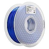 AMOLEN Imprimante 3D Filament PLA 1.75mm, Soie Saphir Bleu 1KG,+/- 0.03 mm Matériaux d'impression 3D en filament, comprend des échantillons de Filament de Gris Argenté.
