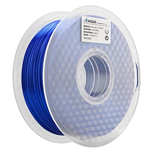 Amolen stampante 3d filamento pla 1.75mm, seta blu zaffiro 1kg,+/- 0.03mm materiali filamenti per stampanti 3d, include campione grigio argenteo filamento.