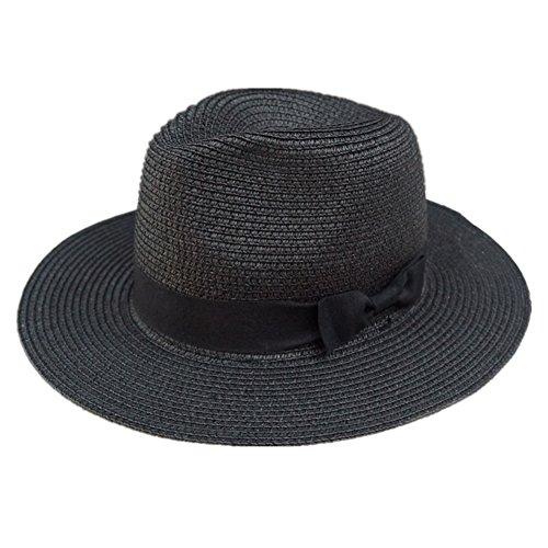 Lawevan femmes Mesdames paille pliable chapeau chapeau de style panama soie noeud noir