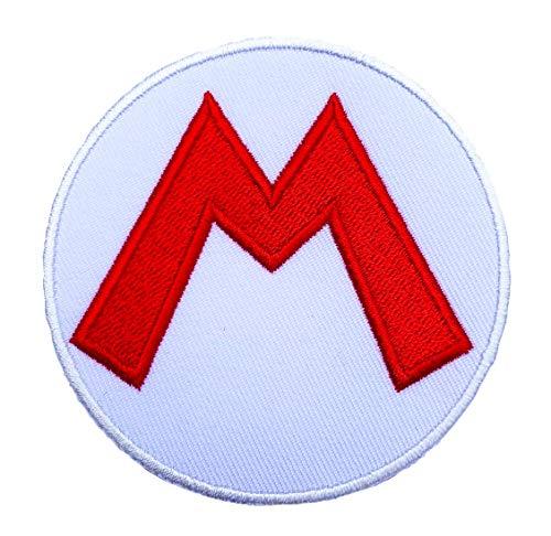 Super Irland Kostüm Mario - Super Mario M Logo Patch Embroidered Iron on Badge Aufnäher Kostüm Mario Kart/SNES/Mario World/Super Mario Brothers Allstars Cosplay
