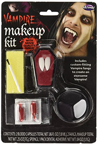 e-up-Kit mit Fangzähne, Kit, Make-up-Schale & Kunstblutkapseln ()